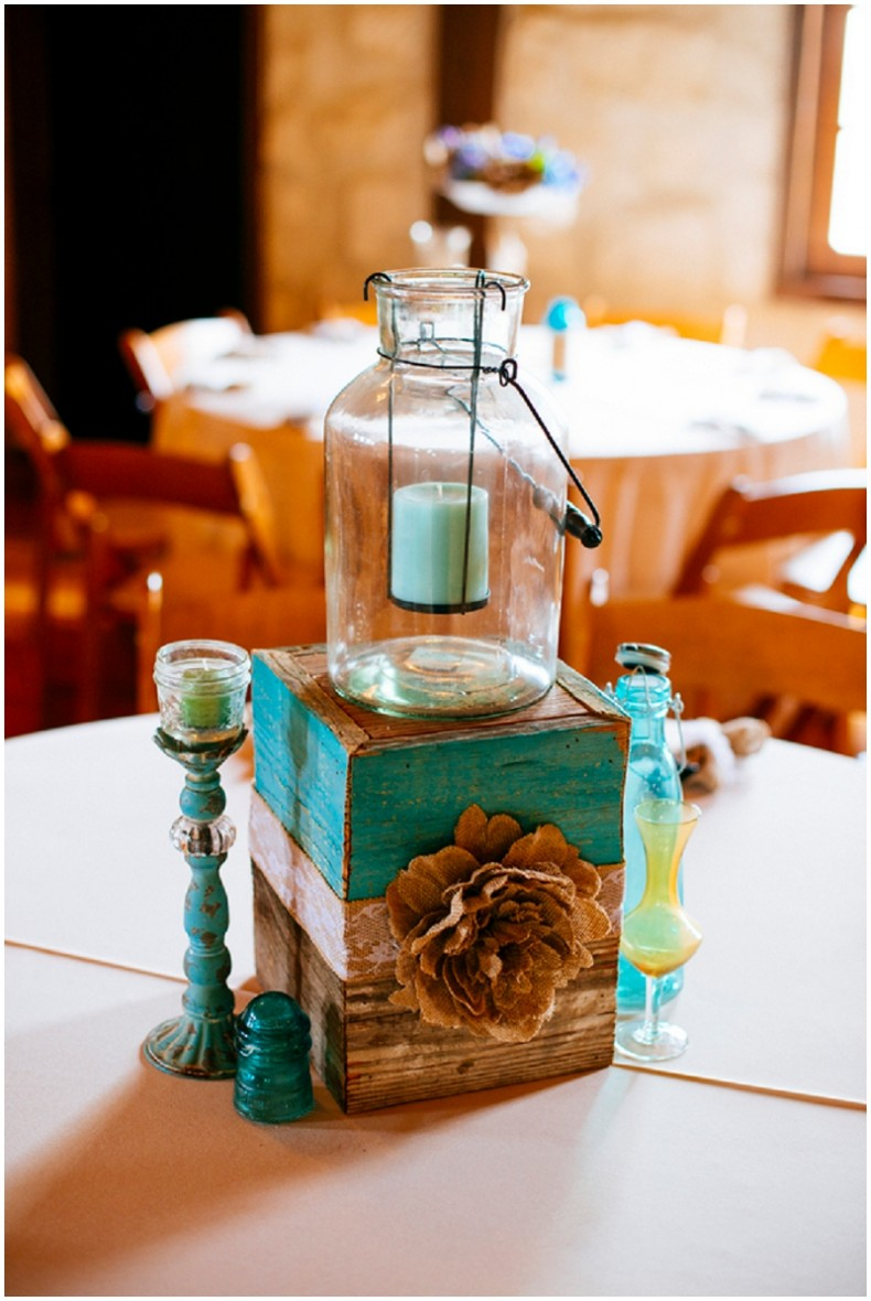 rustic decor with blue accents
