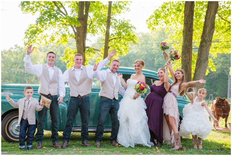 khaki and eggplant wedding party