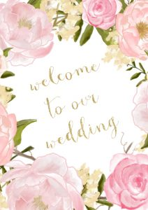 Pastel Floral A2 Wedding Sign small