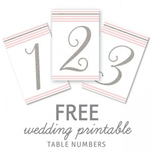 free printable table numbers - silver