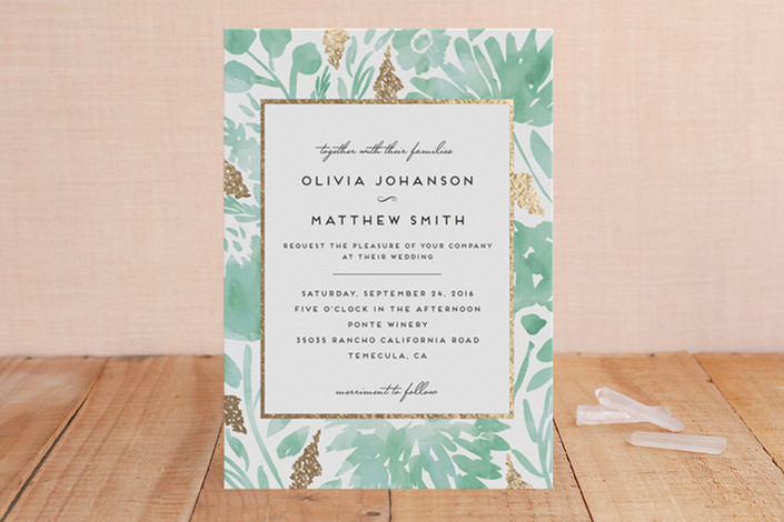 Foil and Watercolor Wedding Invitations