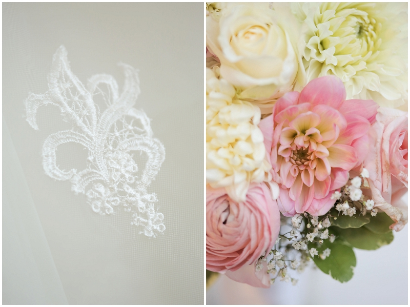 pink and lace wedding details