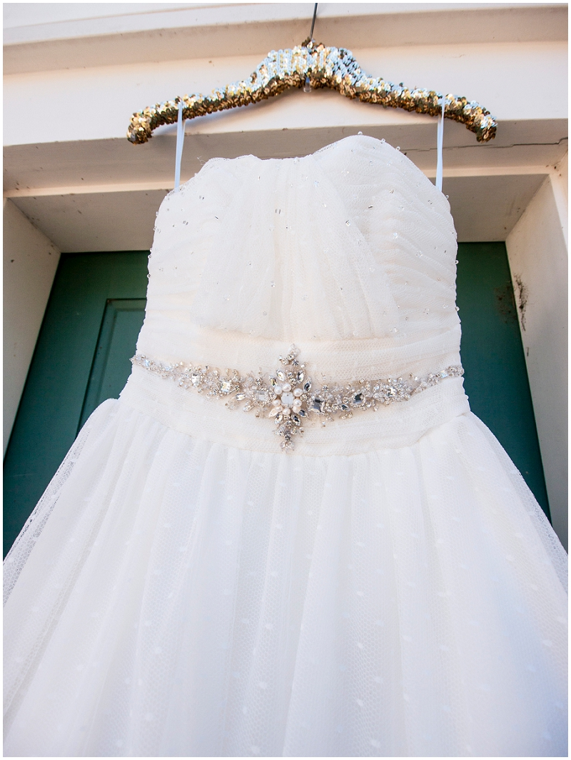 white wedding dress with diamond details
