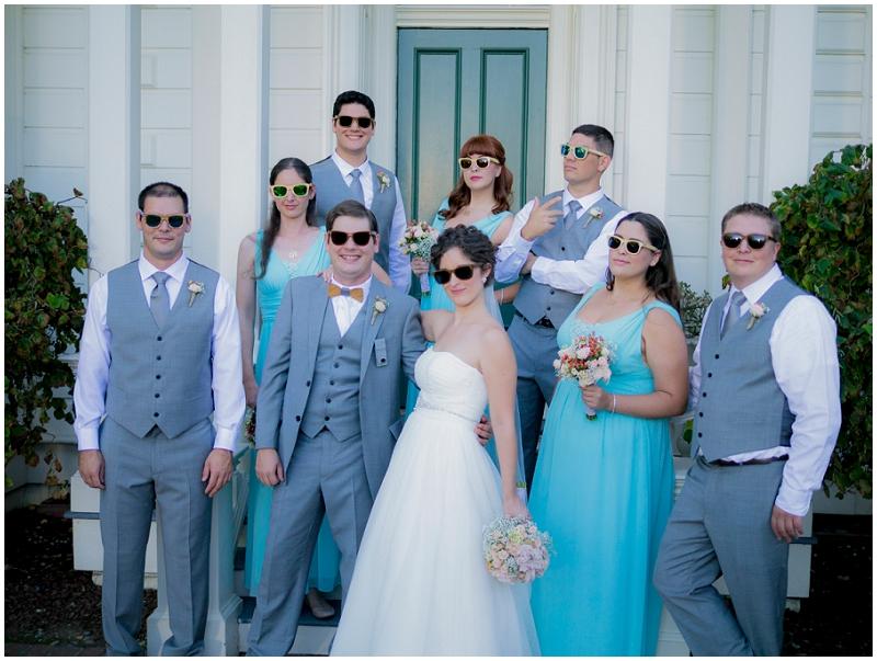 gray and aqua wedding party
