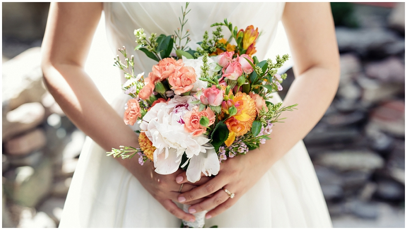 pink and orange wedding bouquet