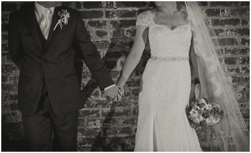 brick wall wedding photos