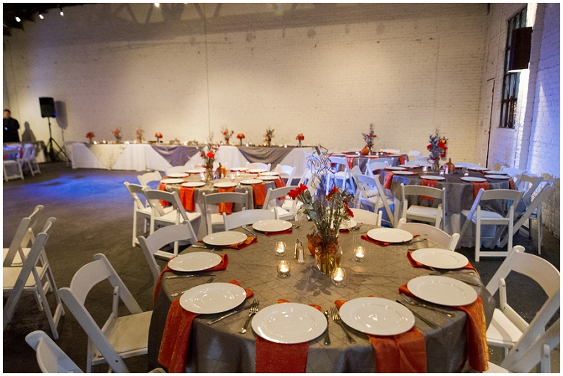 gray and orange reception decor