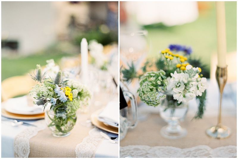 yellow, blue and white wedding flowers