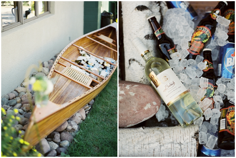 canoe with drinks