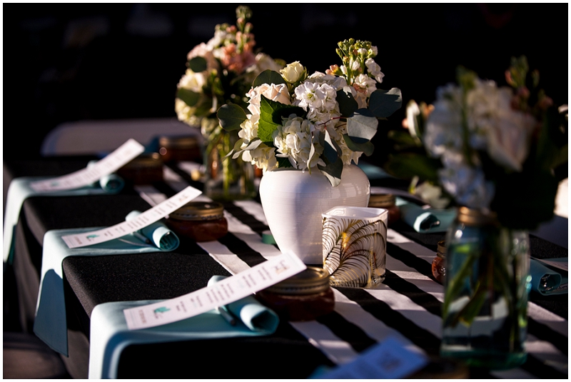 black stripe and blue table decor