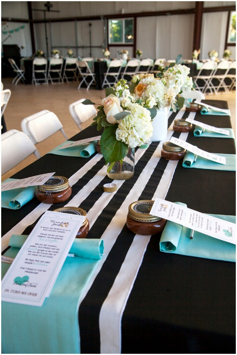 black stripe and blue table decor