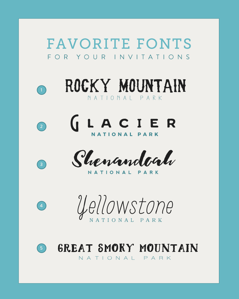 Font Pairings for Your National Park Wedding Invitations