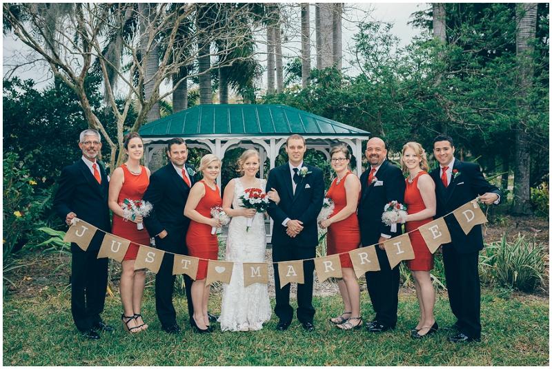 white and orange wedding attire