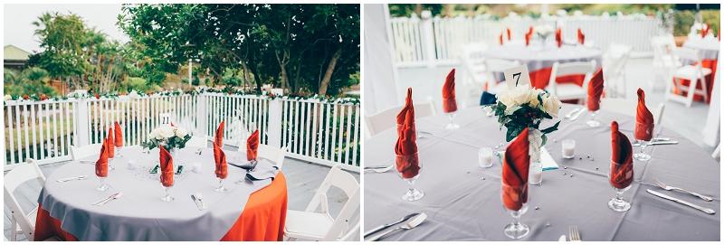 orange and white wedding decor