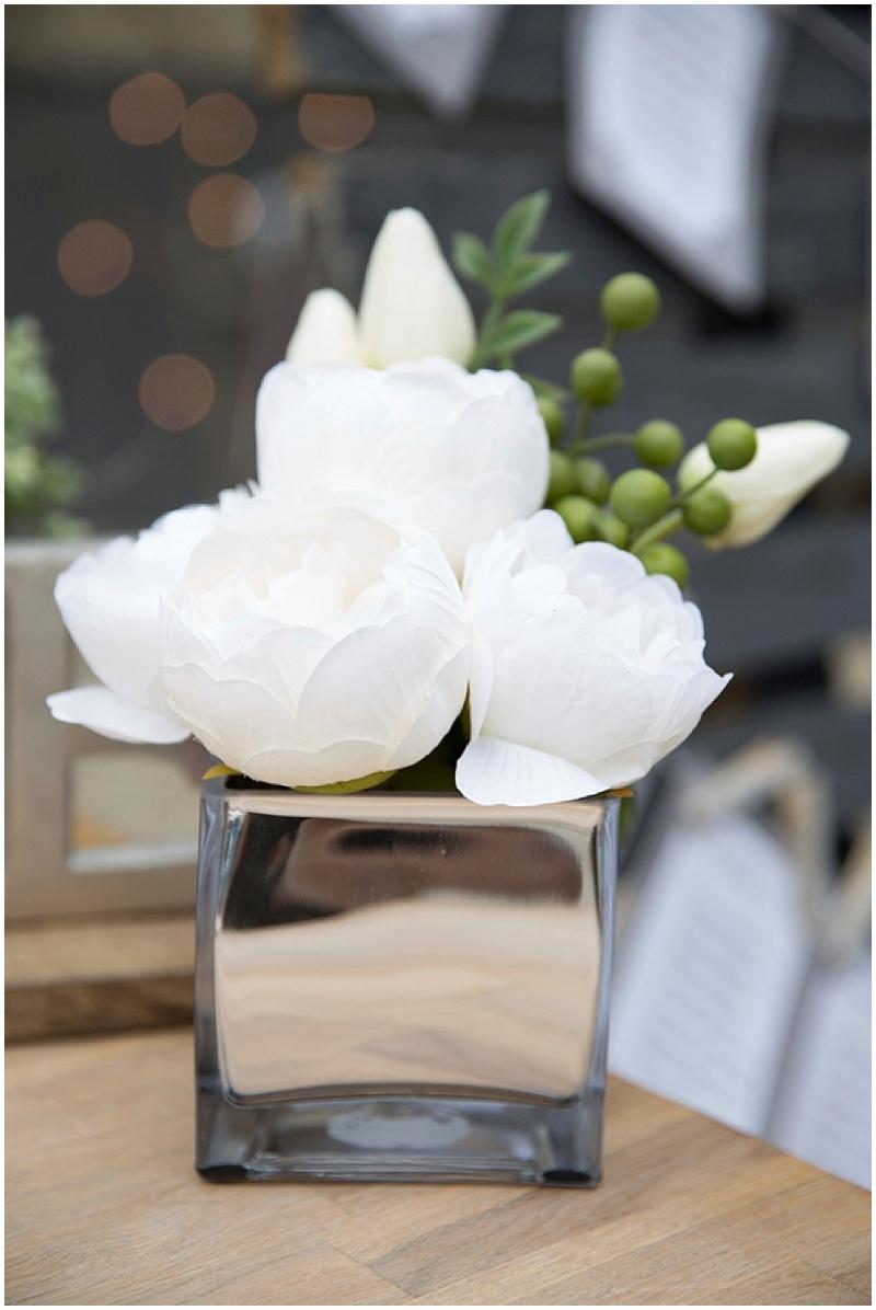 white and silver wedding decor