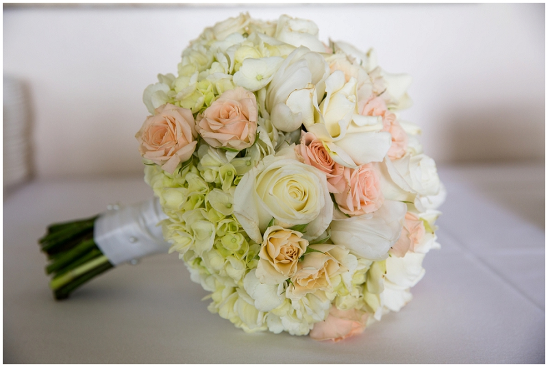 green and pink and white wedding bouquet