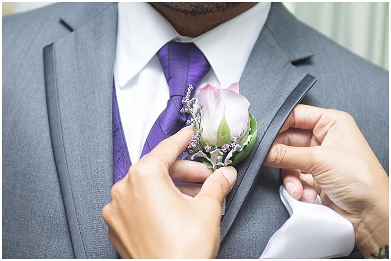 gray and purple groomsmen attire