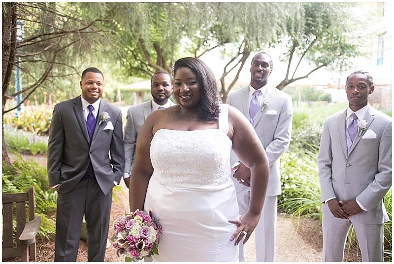 purple and gray wedding party attire