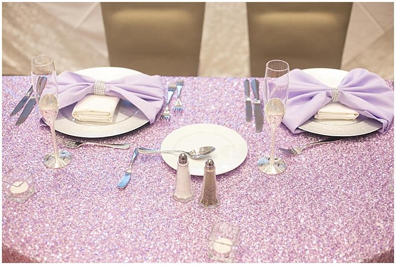 glittery wedding reception decor