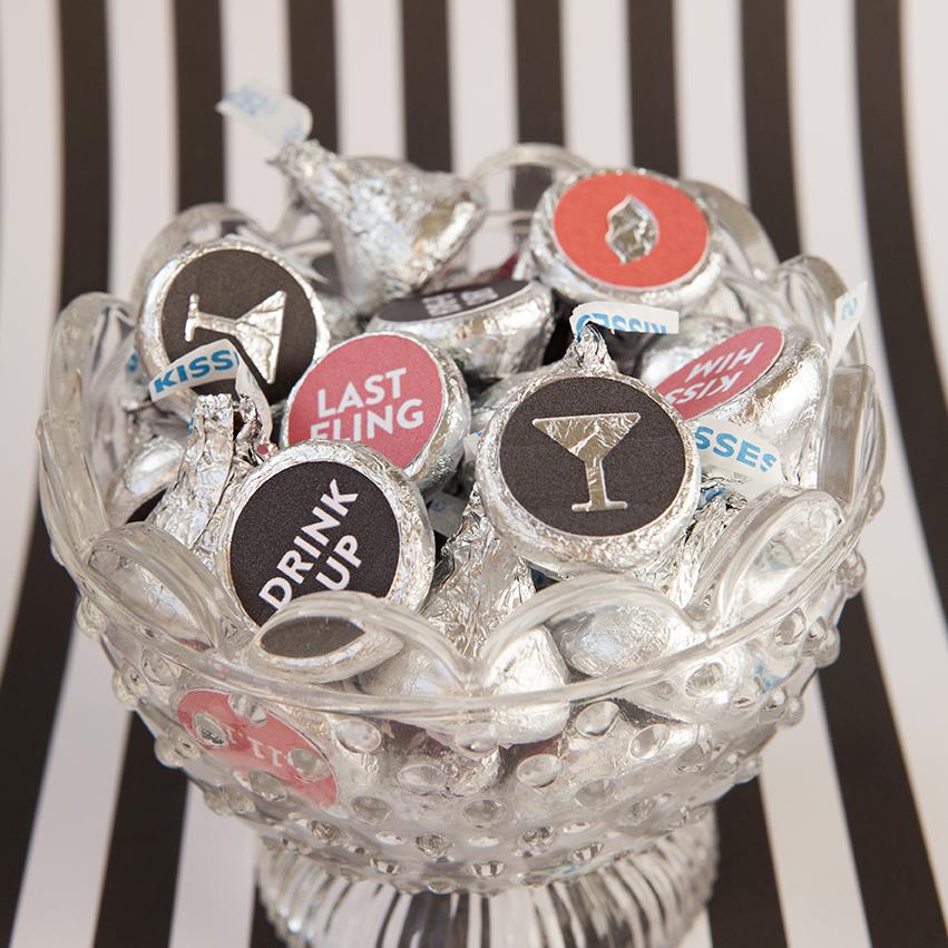 custom diy hershey kiss stickers - bachelorette party favors
