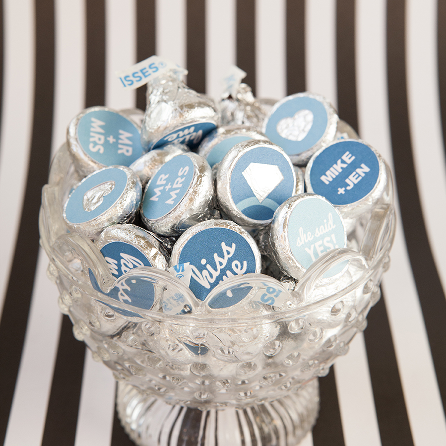 custom diy hershey kiss stickers - engagement party favors