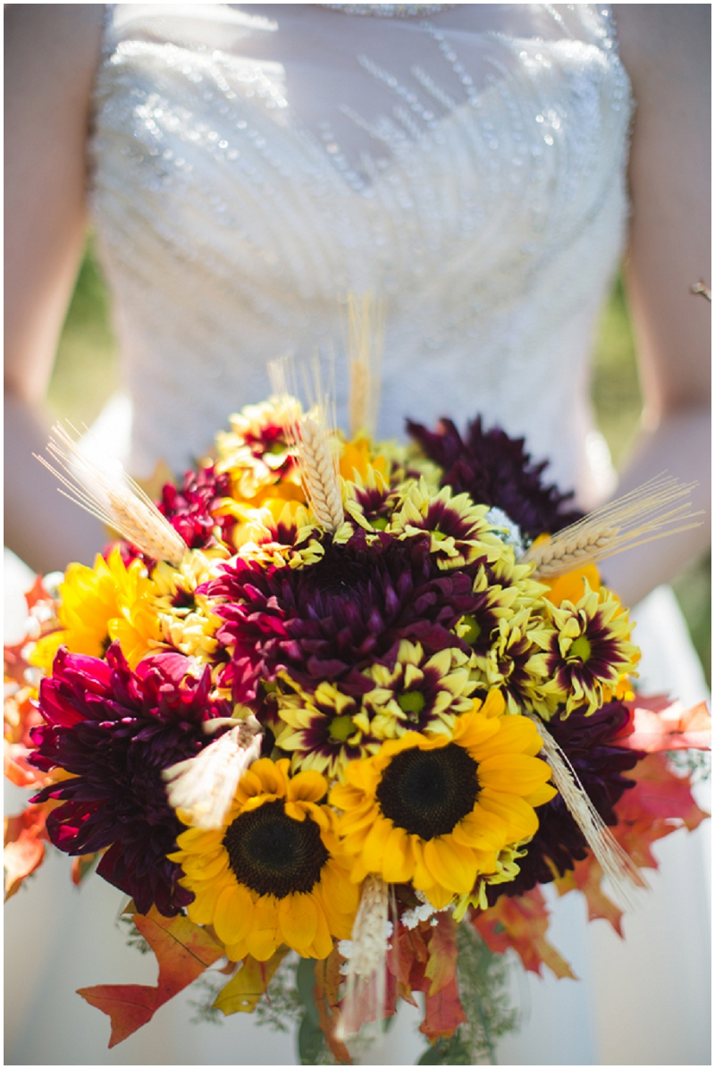 sunflower and mums wedding bouquet