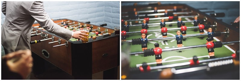 foosball at wedding reception