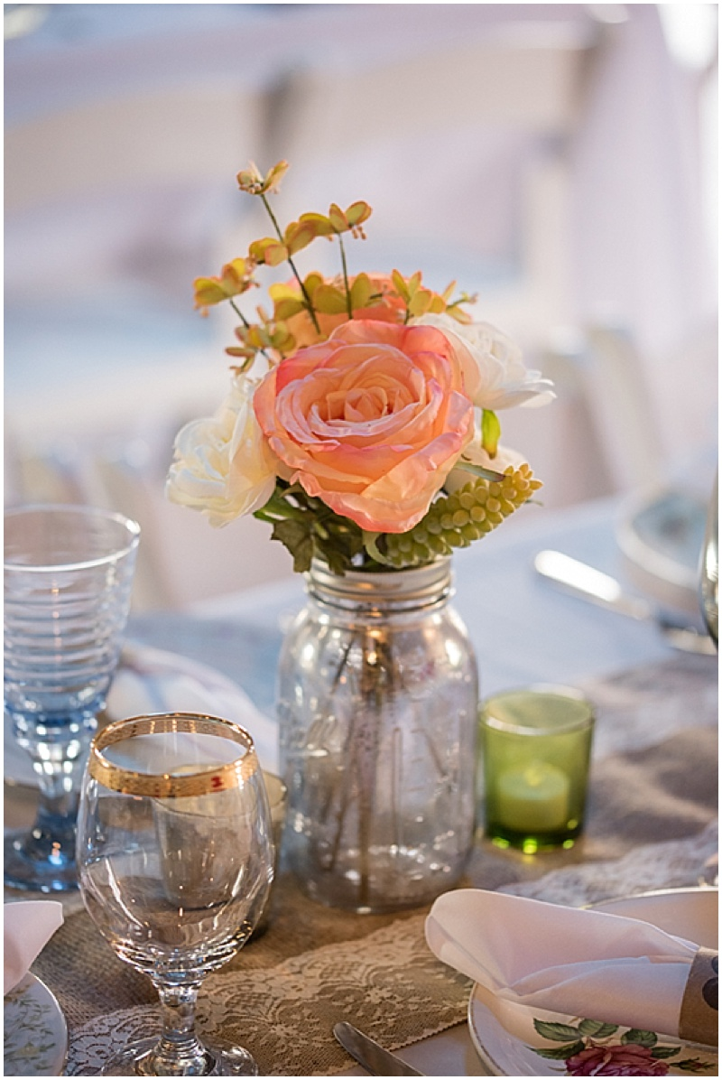 ball jar and rose wedding decor
