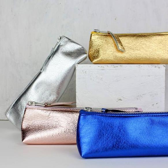 metallic pencil pouch
