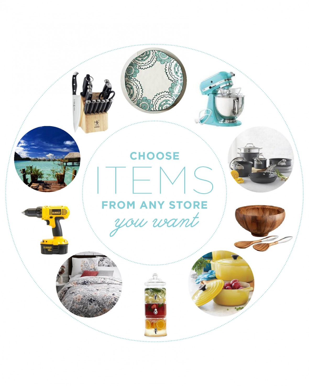 My Registry allows you to register at all your favorite stores and combine all the items into one convenient wish list!