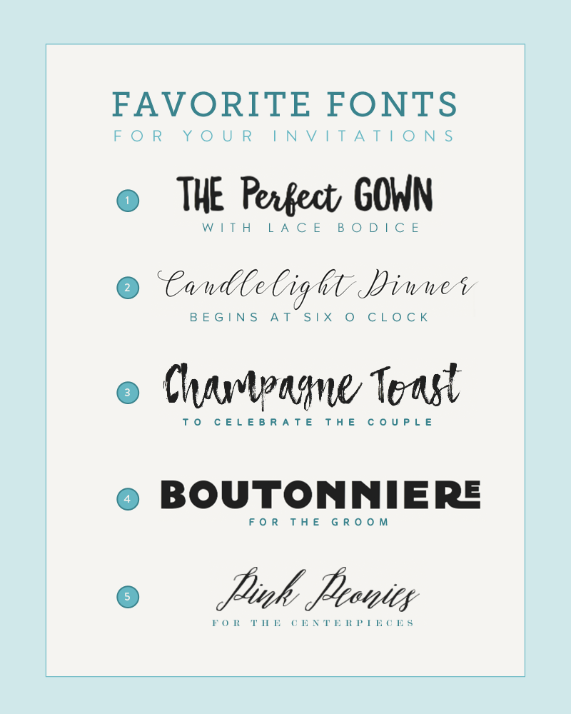 Five font pairings for invitations the budget savvy bride 1 glorious sunday stopboris Images