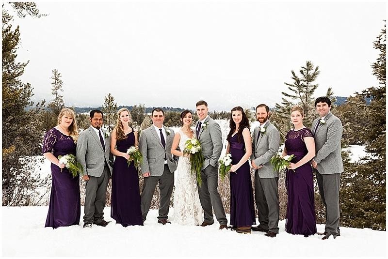 purple and gray wedding attire