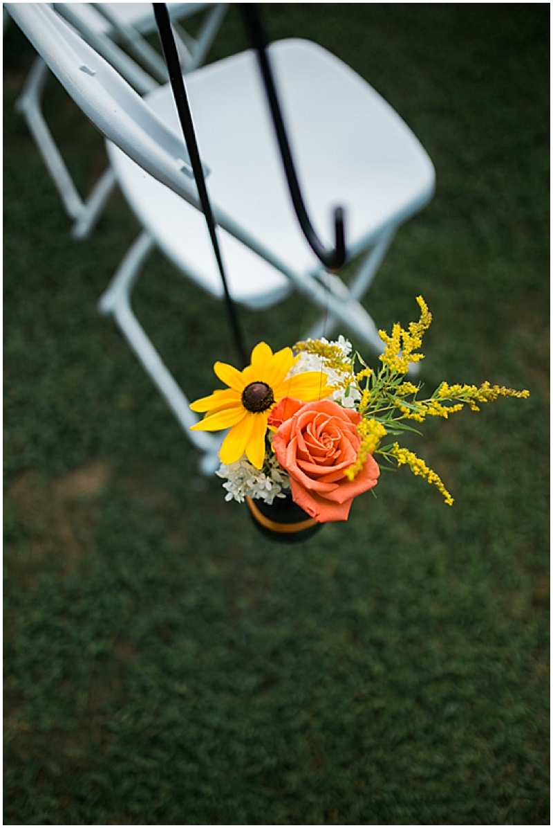 orange and yellow aisle decor