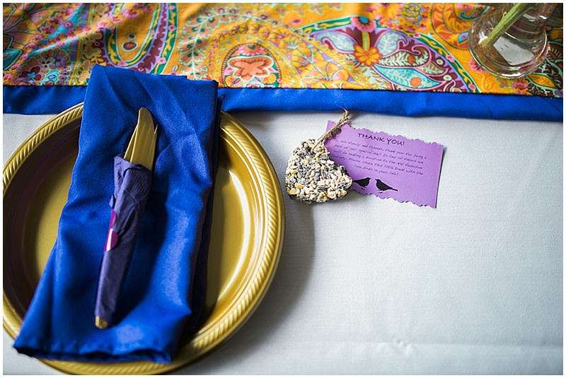blue and orange place setting