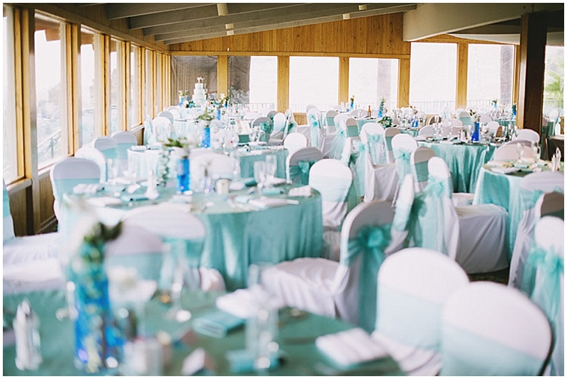 aqua and white wedding reception