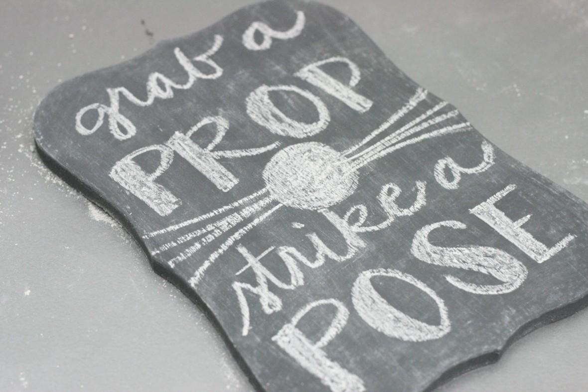 DIY Wedding Photo Booth Sign - plaid folk art chalk paints and mod podge chalkboard