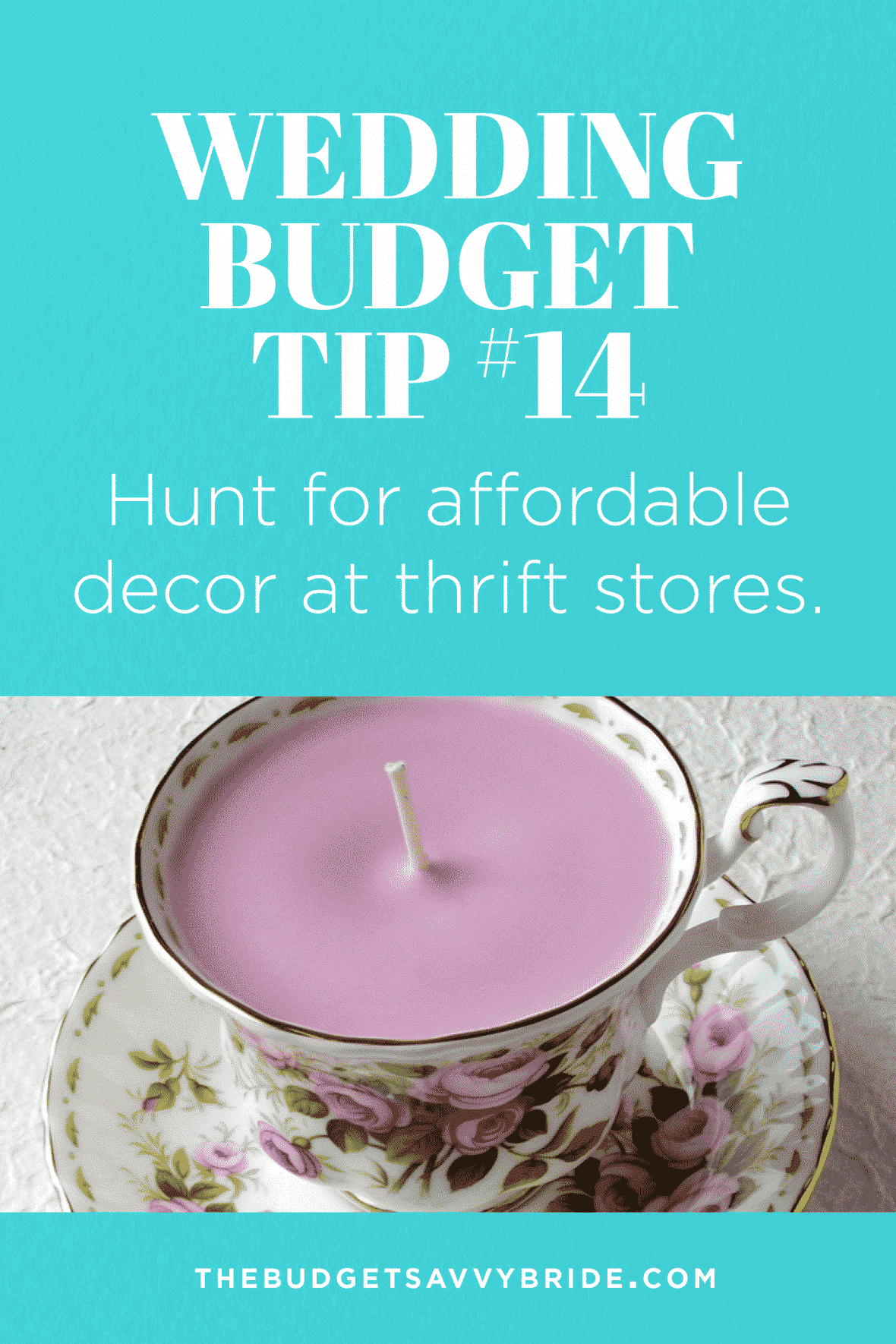 Wedding Budget Tip: Shop at thrift stores for wedding items to save money on your wedding. You can easily give inexpensive items a makeover with DIY!