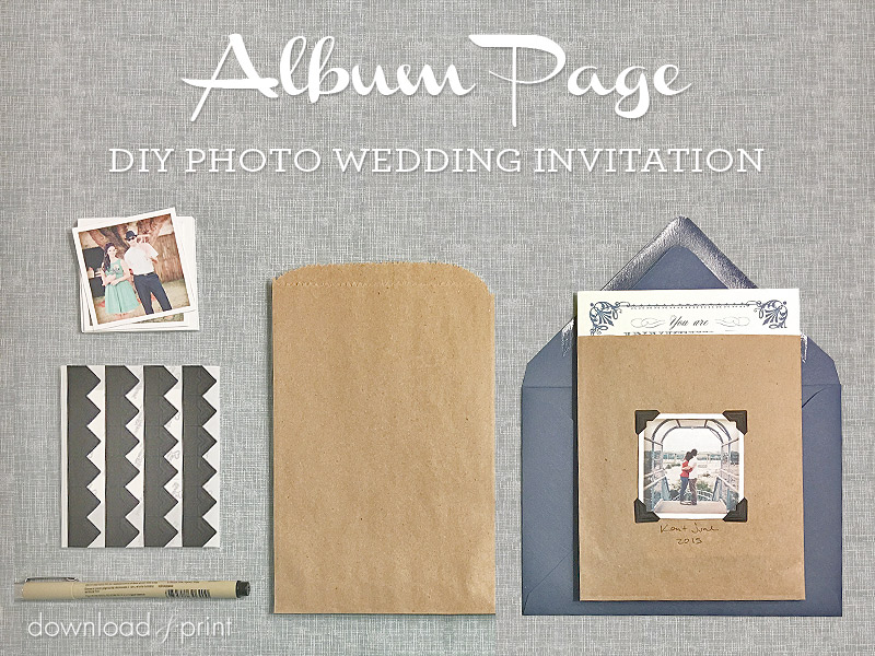 Vintage Photo Album Pocket - DIY Wedding Invitation Embellishment