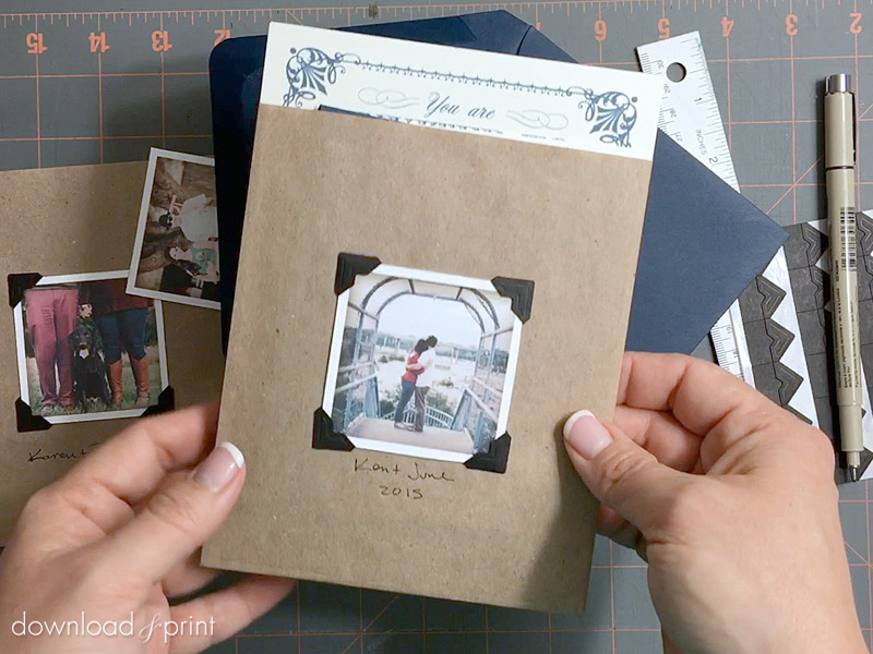 DIY Vintage Photo Album Pocket Wedding Invitation Embellishment - Such an inexpensive and simple project!