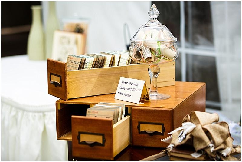 library themed wedding decor