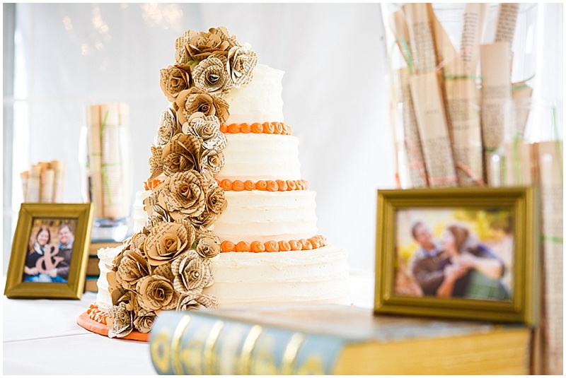 wedding cake with paper flowers