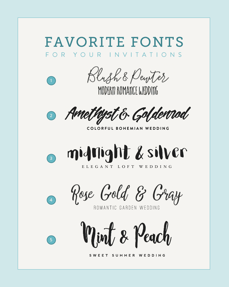 Five Font Pairings to Match Your Wedding Style | Budget Savvy Bride