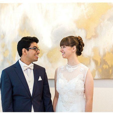 indoor bride and groom photos