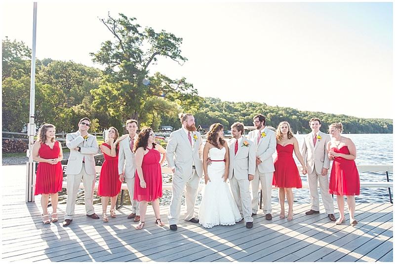 khaki and red wedding attire