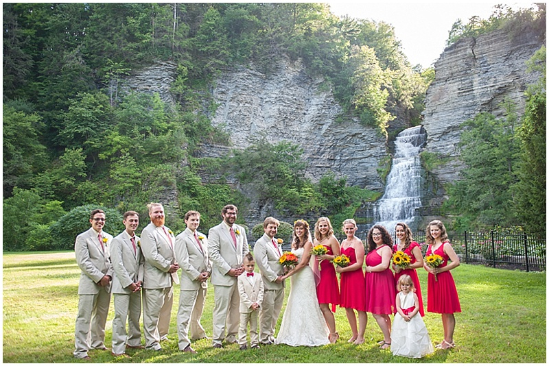 red and khaki wedding party