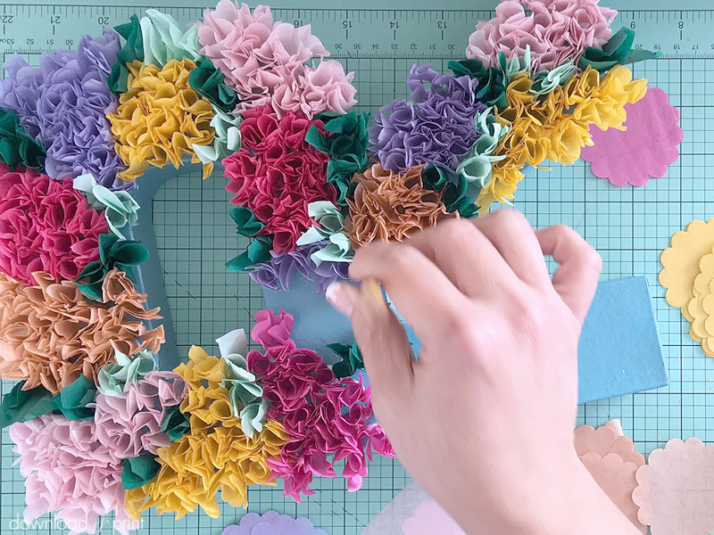Download-and-Print Tissue Paper Flower Letters - Applying Flowers