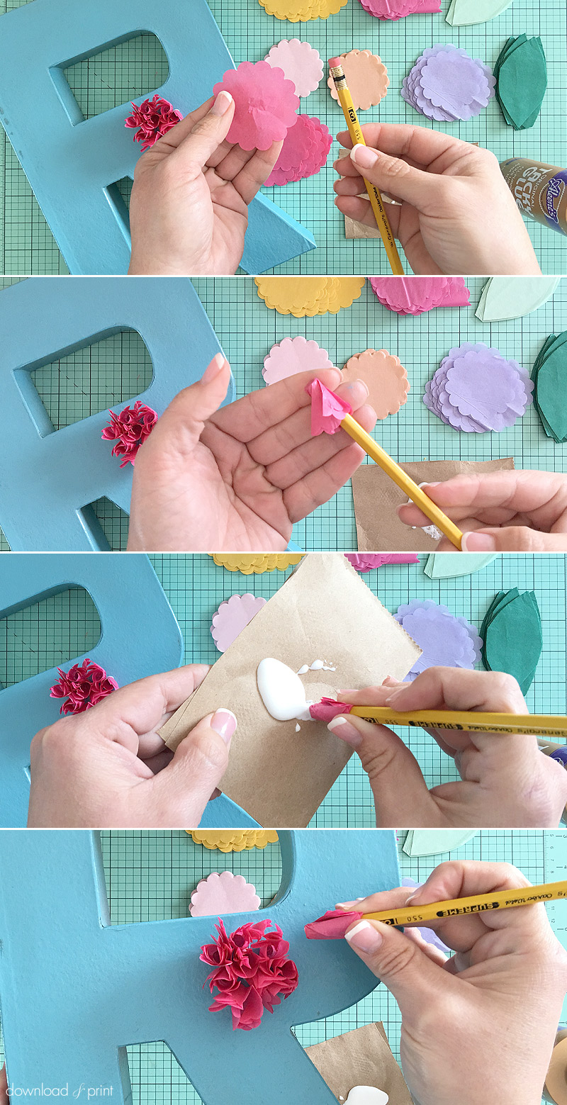 Download-and-Print Tissue Paper Flower Letters-adding flowers