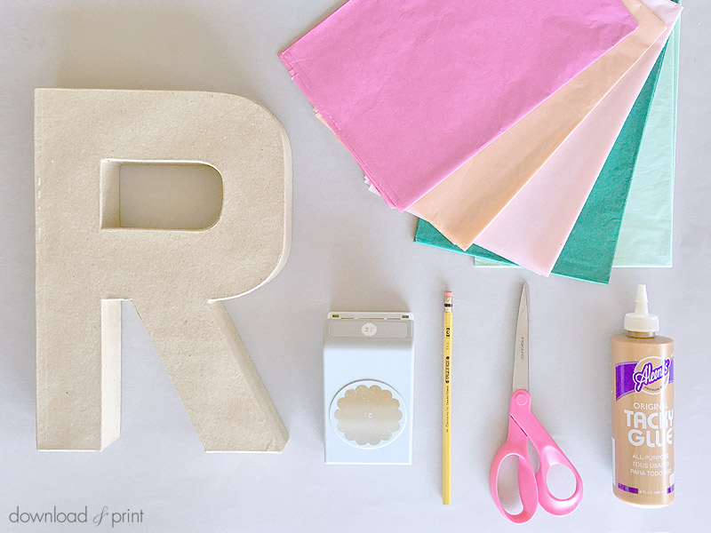 DIY Tissue Paper Flower Letters The Budget Savvy Bride