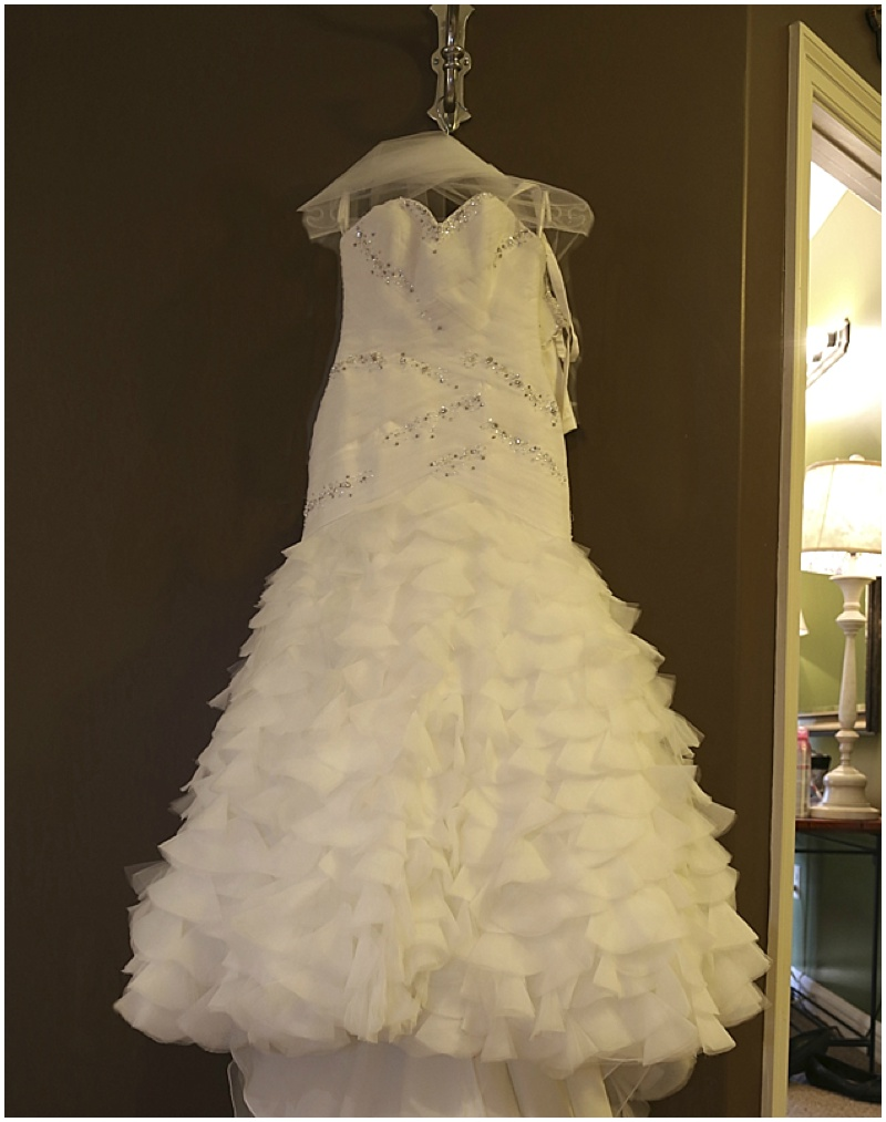 ruffled white wedding dress