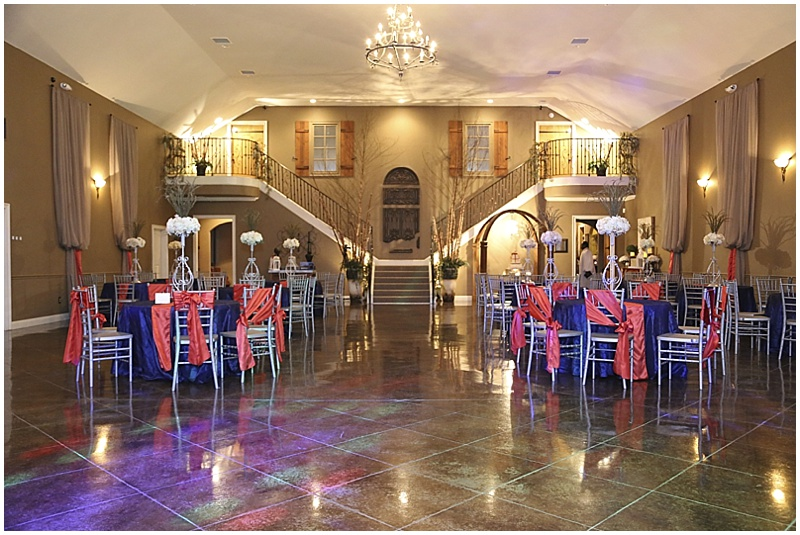 navy and coral wedding reception